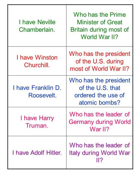 I have Neville Chamberlain. Who has the Prime Minister of Great Britain during most of World War II? I have Winston Churchill. Who has the president of.