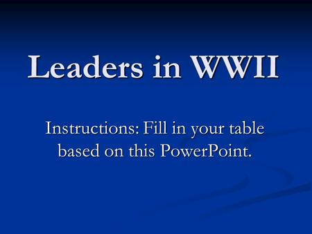 Leaders in WWII Instructions: Fill in your table based on this PowerPoint.