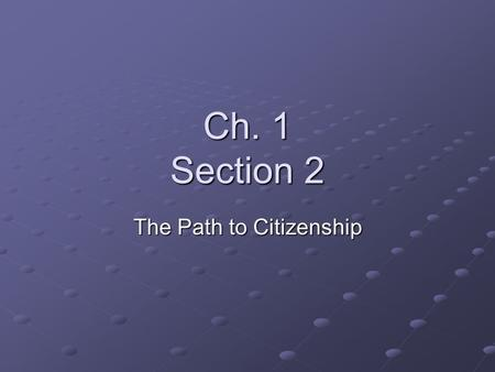 Ch. 1 Section 2 The Path to Citizenship. Who are America's Citizens? The U.S. Constitution establishes two ways to become a citizen: - by birth - by naturalization,