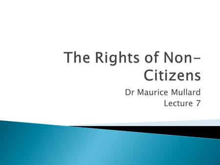"Dr Maurice Mullard Lecture 7. Who is a Non-Citizen? In the human rights arena the most common definition for a non-citizen is: ""any individual who is."