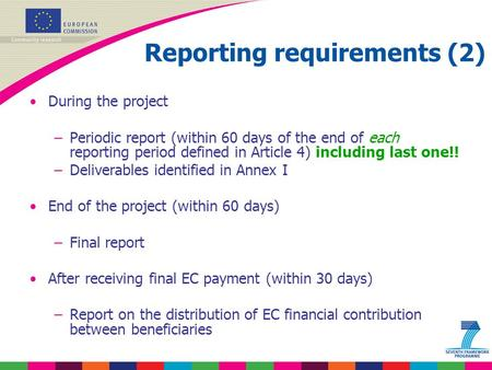 Reporting requirements (2)