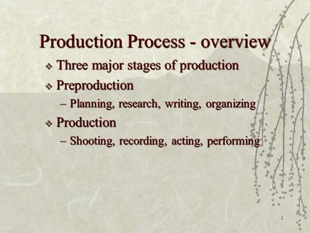 1 Production Process - overview  Three major stages of production  Preproduction –Planning, research, writing, organizing  Production –Shooting, recording,