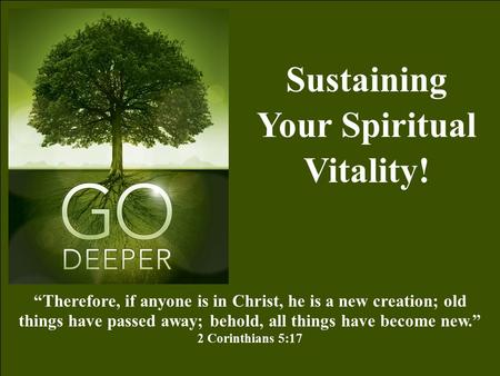 Sustaining Your Spiritual Vitality!