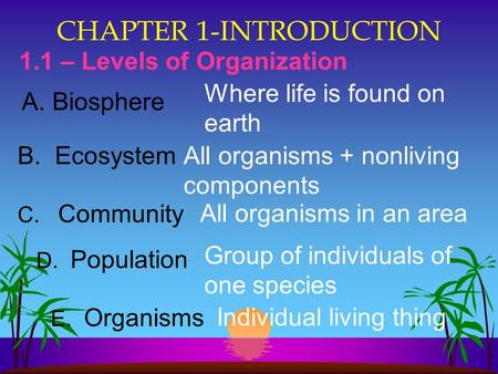 CHAPTER 1-INTRODUCTION 1.1 – Levels of Organization B. EcosystemAll organisms + nonliving components C. CommunityAll organisms in an area D. Population.