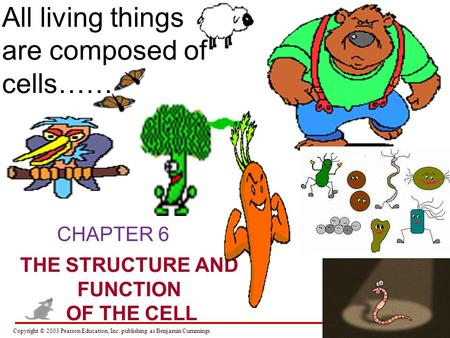 Copyright © 2003 Pearson Education, Inc. publishing as Benjamin Cummings CHAPTER 6 THE STRUCTURE AND FUNCTION OF THE CELL All living things are composed.