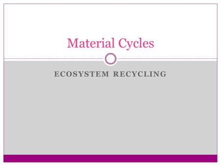 ECOSYSTEM RECYCLING Material Cycles. As energy & matter move through ecosystem matter must be recycle and reused Types of Cycle 1. Carbon & Oxygen Cycles.