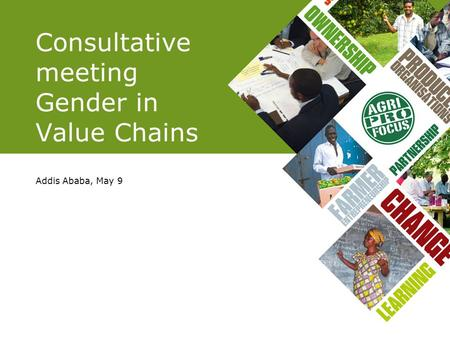 Consultative meeting Gender in Value Chains Addis Ababa, May 9.