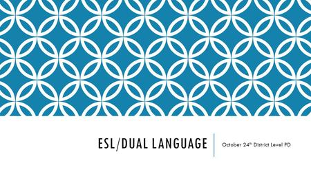 ESL/DUAL LANGUAGE October 24 th District Level PD.