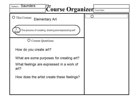 Teacher(s): The Course Organizer Course Dates: This Course: Course Questions: is about How do you create art? What are some purposes for creating art?