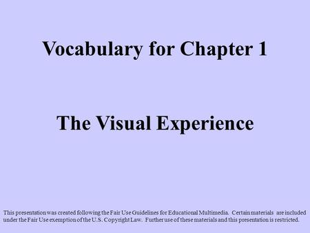 Vocabulary for Chapter 1