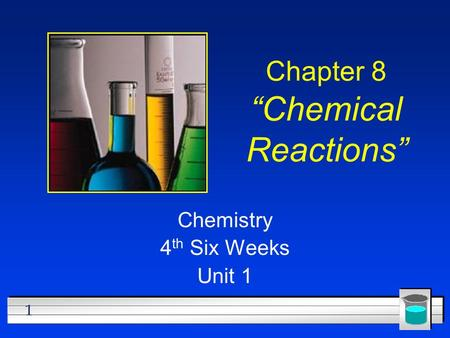 "1 Chapter 8 ""Chemical Reactions"" Chemistry 4 th Six Weeks Unit 1."
