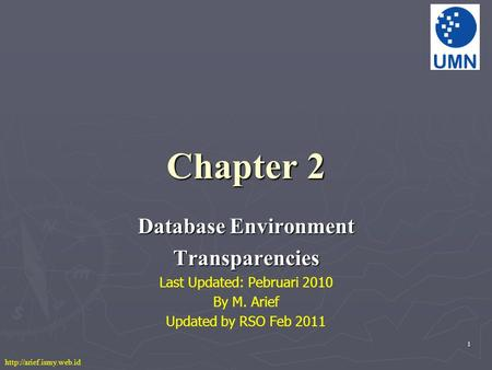 1 Chapter 2 Database Environment Transparencies Last Updated: Pebruari 2010 By M. Arief Updated by RSO Feb 2011