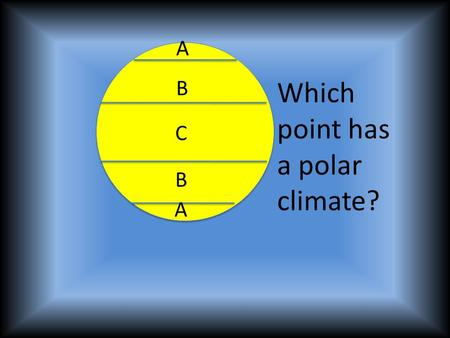 A A B B C Which point has a polar climate?. A A B B C Which point has a temperate climate?