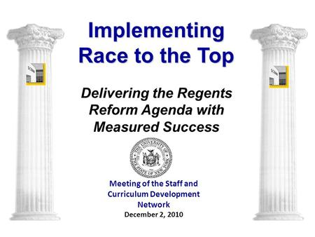 Meeting of the Staff and Curriculum Development Network December 2, 2010 Implementing Race to the Top Delivering the Regents Reform Agenda with Measured.