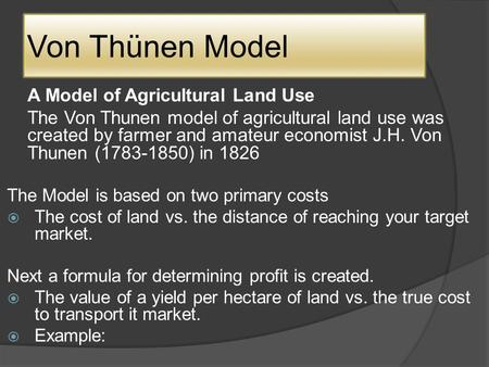 von thunen model of agricultural land use pdf