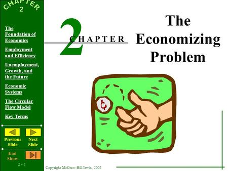 2 - 1 Copyright McGraw-Hill/Irwin, 2002 The Foundation of Economics Employment and Efficiency Unemployment, Growth, and the Future Economic Systems The.