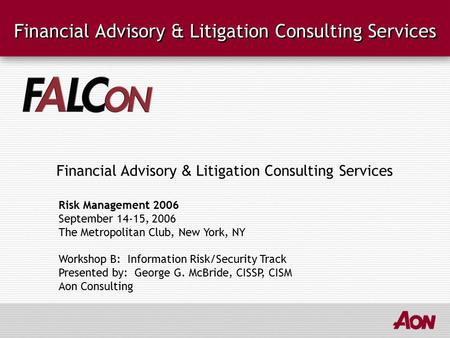 Financial Advisory & Litigation Consulting Services Risk Management 2006 September 14-15, 2006 The Metropolitan Club, New York, NY Workshop B: Information.