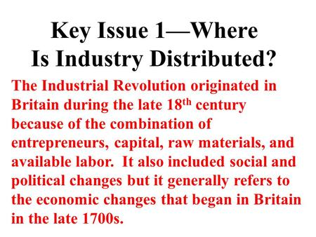 Is Industry Distributed?