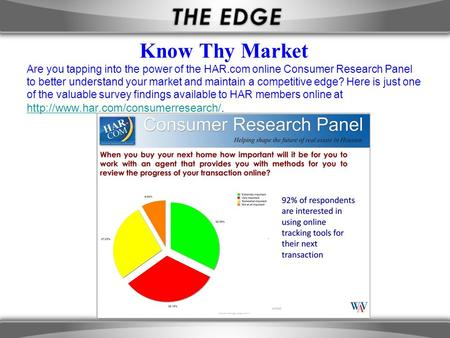 Know Thy Market Are you tapping into the power of the HAR.com online Consumer Research Panel to better understand your market and maintain a competitive.