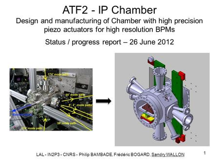 1 ATF2 - IP Chamber Design and manufacturing of Chamber with high precision piezo actuators for high resolution BPMs Status / progress report – 26 June.