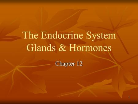 The Endocrine System Glands & Hormones