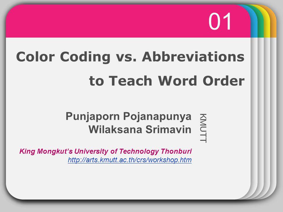 Winter Template Color Coding Vs Abbreviations To Teach Word Order 01 Kmutt Punjaporn Pojanapunya Wilaksana Srimavin King Mongkut S University Of Technology Ppt Download