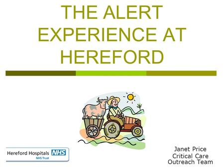 THE ALERT EXPERIENCE AT HEREFORD Janet Price Critical Care Outreach Team.