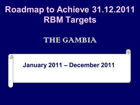 1 Roadmap to Achieve 31.12.2011 RBM Targets THE GAMBIA January 2011 – December 2011.