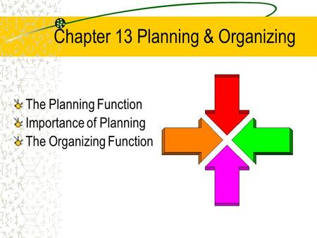 Chapter 13 Planning & Organizing