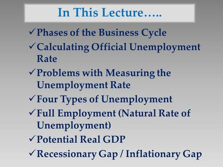 In This Lecture….. Phases of the Business Cycle