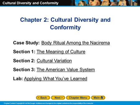 Chapter 2: Cultural Diversity and Conformity