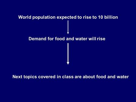 World population expected to rise to 10 billion Demand for food and water will rise Next topics covered in class are about food and water.