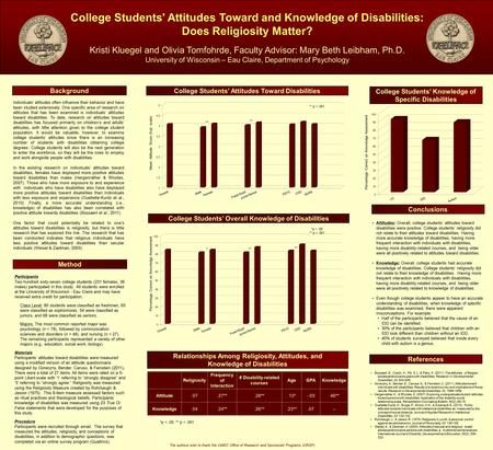 College Students' Attitudes Toward and Knowledge of Disabilities: Does Religiosity Matter? Kristi Kluegel and Olivia Tomfohrde, Faculty Advisor: Mary Beth.