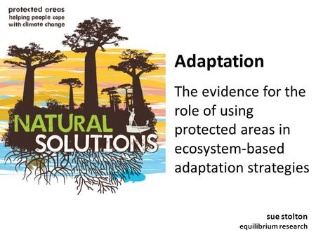 Adaptation The evidence for the role of using protected areas in ecosystem-based adaptation strategies sue stolton equilibrium research.
