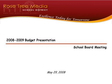 May 29, 2008 2008-2009 Budget Presentation School Board Meeting.
