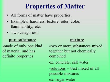 Properties of Matter All forms of matter have properties.