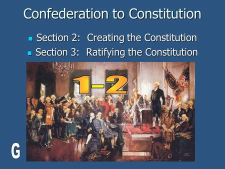 Confederation to Constitution Section 2: Creating the Constitution Section 2: Creating the Constitution Section 3: Ratifying the Constitution Section 3:
