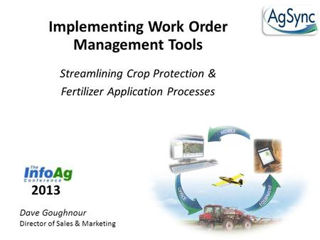 Implementing Work Order Management Tools Streamlining Crop Protection & Fertilizer Application Processes Dave Goughnour Director of Sales & Marketing 2013.