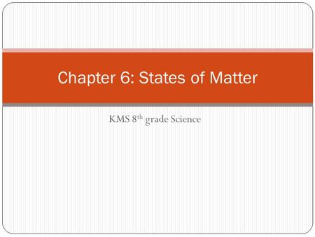KMS 8 th grade Science Chapter 6: States of Matter.