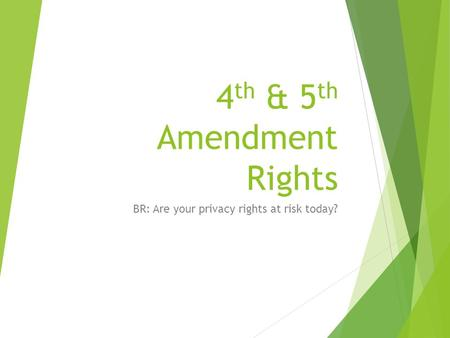 4 th & 5 th Amendment Rights BR: Are your privacy rights at risk today?