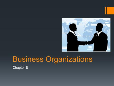Business Organizations Chapter 8. Sole Proprietorships  Business organization is an establishment formed to carry on a commercial enterprise  Sole Proprietorships.