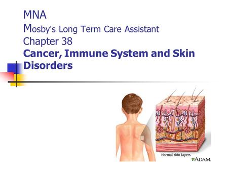 MNA M osby ' s Long Term Care Assistant Chapter 38 Cancer, Immune System and Skin Disorders.