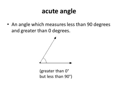 Acute angle An angle which measures less than 90 degrees and greater than 0 degrees. (greater than 0° but less than 90°)