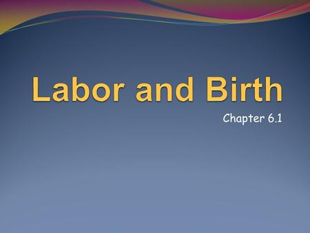 Labor and Birth Chapter 6.1.