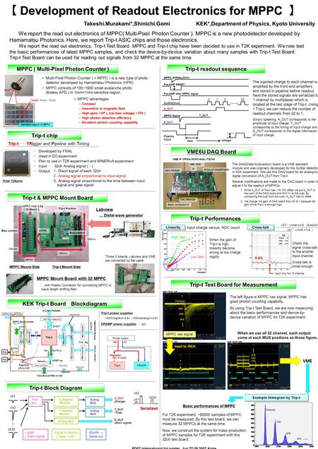 6mm 【 Development of Readout Electronics for MPPC 】 We report the read out electronics of MPPC( Multi-Pixel Photon Counter ). MPPC is a new photodetector.