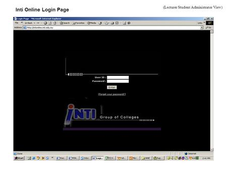 Inti Online Login Page (Lecturer/Student/Administrator View)