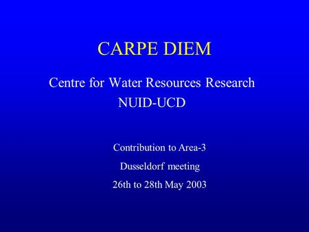CARPE DIEM Centre for Water Resources Research NUID-UCD Contribution to Area-3 Dusseldorf meeting 26th to 28th May 2003.