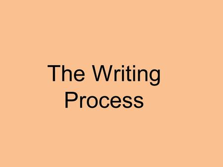 The Writing Process. Stages of Writing Process The writing process consists of 3 stages: 1.Pre-writing Selecting a topic Identifying audience and purpose.