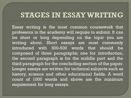 Essay writing is the most common coursework that professors in the academy will require to submit. It can be short or long depending on the topic you are.