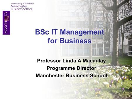 Professor Linda A Macaulay Programme Director Manchester Business School BSc IT Management for Business.
